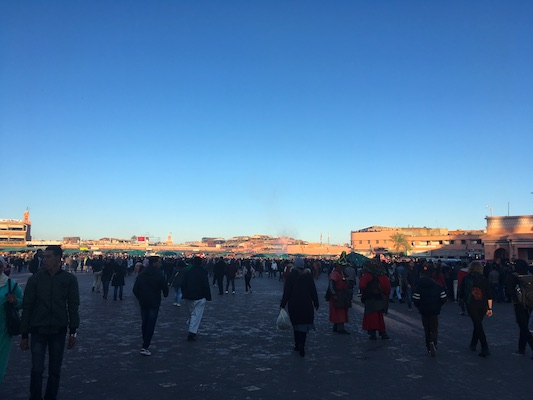 Jemaa el-Fna in Marrakech in the evening