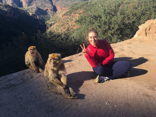 With Barbary apes at Ouzoud Waterfall
