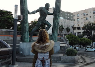 At the statue of the Pillars of Hercules in Ceuta, a little piece of Spain in Morocco