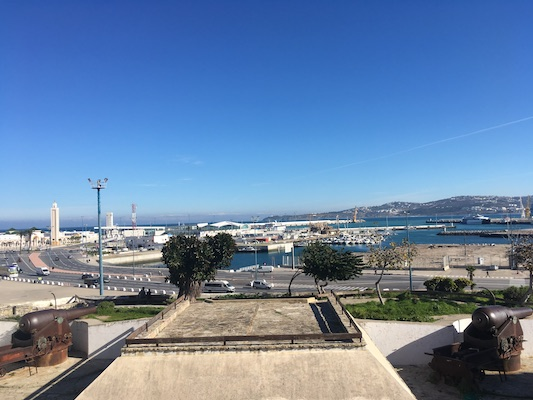 Panoramic terrace with a view over the port of Tangier