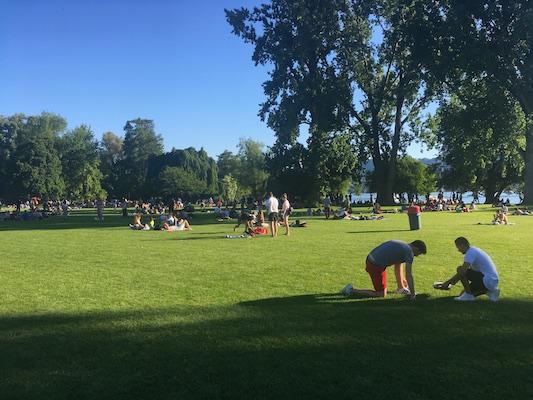 Gente del posto che cuoce la carne nei mini barbecue portatili al parco Zurichhorn
