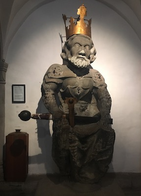 The statue of Charlemagne in the crypt of Grossmunster