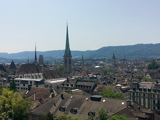 View of Zurich from Polybahn Terrace