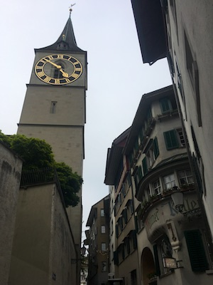 The clock tower of St. Peter Kirche