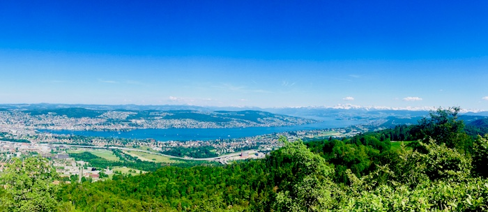 Panoramic view of Zurich, the lake and the Alps from Uetliberg