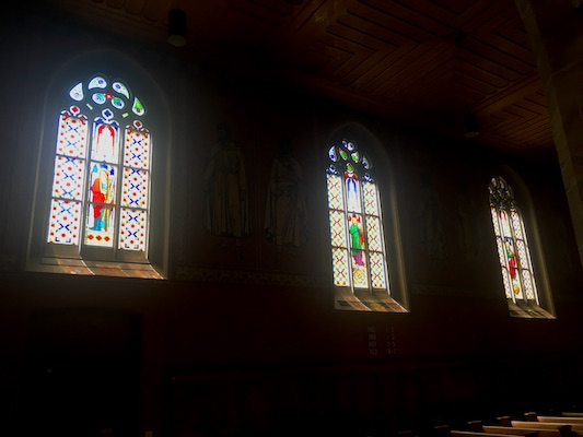 The windows painted by Giacometti inside Stadtkirche in Winterthur