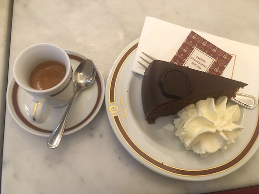The Sacher Cake in Cafe Sacher