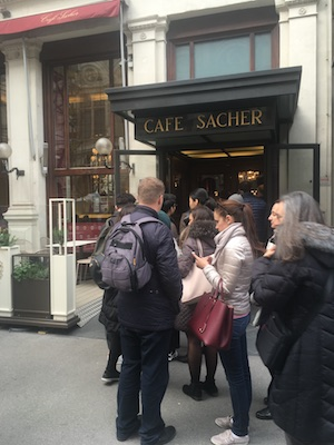 The line to get into the Cafe Sacher
