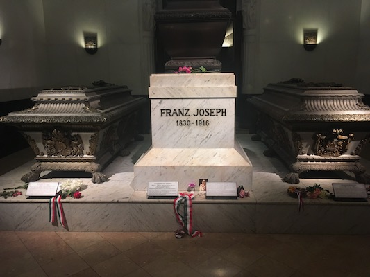 Tomb of Sissi, Franz Joseph and Rudolf in the Imperial Crypt in the Capuchin Church