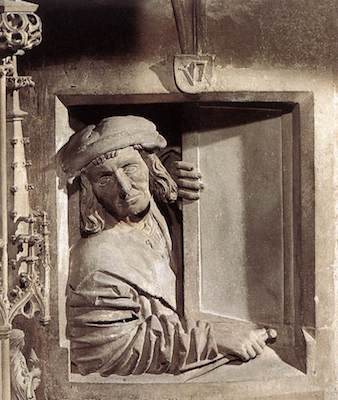 Self-portrait of Pilgram looking out a little window by the stairs that lead to the pulpit in St. Stephan's Cathedral