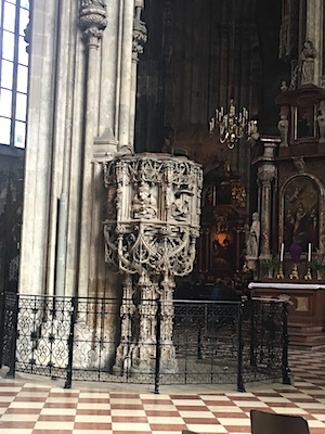 The pulpit by Pilgrim by St. Stephan's Cathedral in Vienna