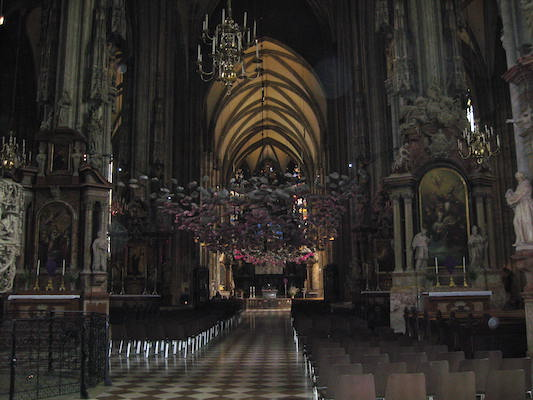 Inside St. Stephan's Cathedral in Vienna