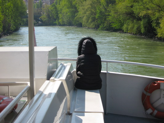 On a boat cruising on the Danube