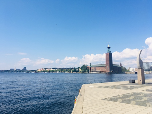 View of the town hall of Stockholm from Riddarholmen Island