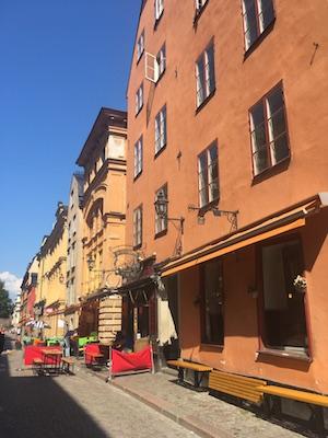 Shops and restaurants in Vasterlanggatan in Stockholm