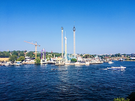 View of Grona Lund Amusement Park from Skeppsholmen Island