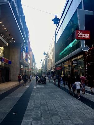 Drottninggatan, the main shopping street in the center of Stockholm