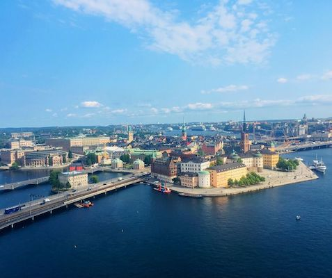 View of the archipelago of Stockholm from the top of the tower of the town hall