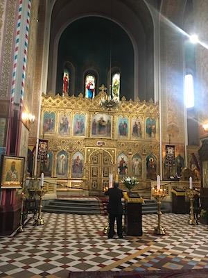 The inside of Aleksander Nevsky Cathedral of Tallinn