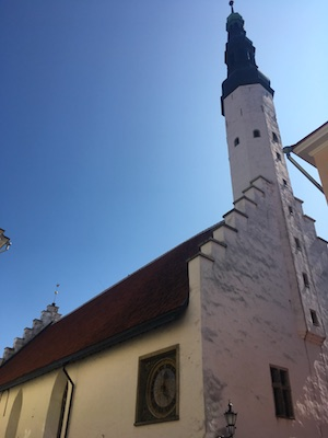 Clock on the facade of the Church of the Holy Spirit in Tallinn