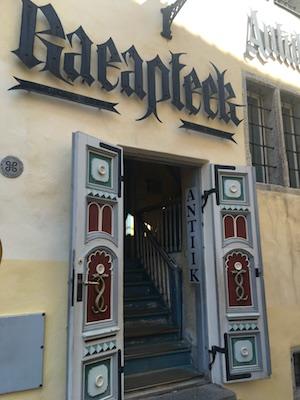 The entrance to Raeapteek Pharmacy in Tallinn