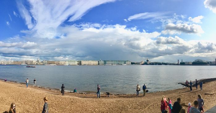 View of St Petersburg from the beach of Peter and Paul Fortress