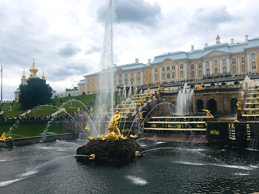The statue of Samson of the Grand Cascade in the Lower Gardens in Peterhof
