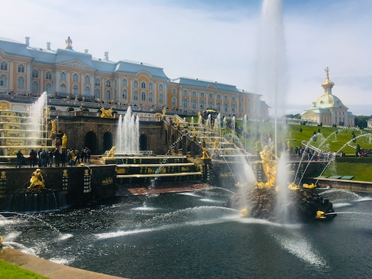 View of the Grand Palace in the Lower Gardens in Peterhof
