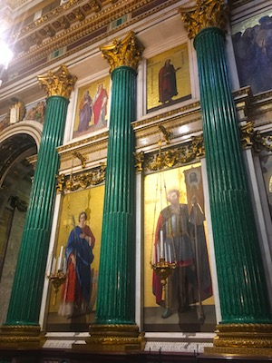 Malachite Columns in Saint Isaac's Cathedral in St Petersburg