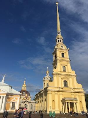 The golden bell tower of Saints Peter and Paul Cathedral