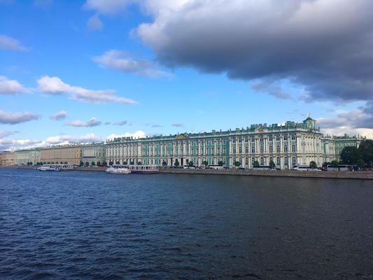 Facade of the Winter Palace in St Petersburg
