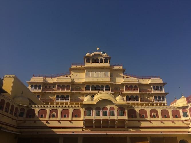 Facade of Chandra Mahal in Jaipur