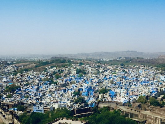 View of the blue houses of Jodhpur