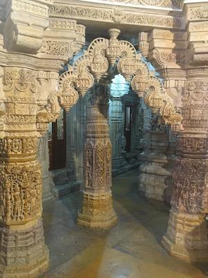 Fine ornate carvings of the pillars in Jain Temples of Jaisalmer
