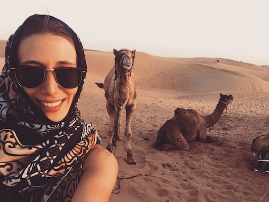 Selfie with camels at Sam Sand Dunes in the Thar Desert