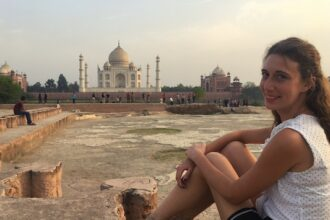 View of the Taj Mahal from the Moon Garden, one of the things to do in Agra
