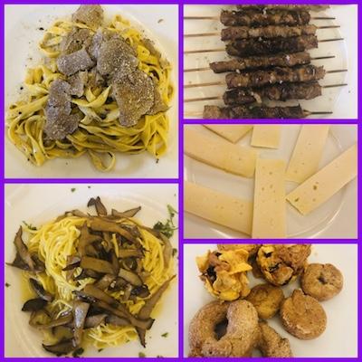 Fettuccine al tartufo, Chitarra alle cardoncelle, arrosticini di pecora, pecorino, dolcetti tipici, Al Caminetto di Carsoli, tappa del nostro tour enogastronomico in Italia