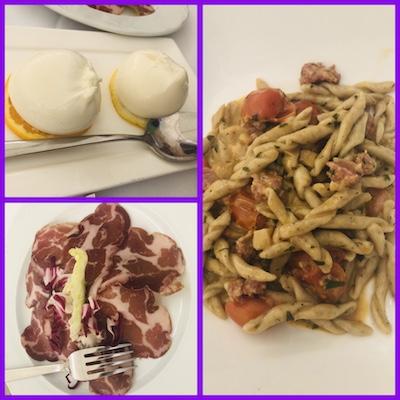 Burratine, Capocolli, Stringoli di grano saraceno con salsiccia, cardoncelle e pomodorini al forno, Allamuraja di Giovinazzo, tappa del nostro tour enogastronomico in Italia