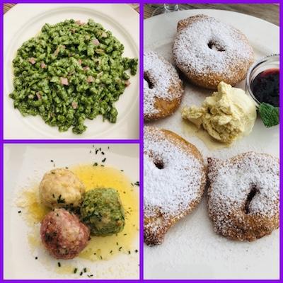 Spatzle di spinaci con prosciutto e pancetta, tris di canederli, frittelle di mele al Ristorante Lago di Landro, una tappa del nostro tour enogastronomico in Italia
