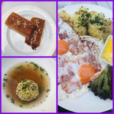 Taleggio alla piastra, canederli in brodo, uova con speck e fonduta di formaggio, al ristorante Mauriz Keller a Ortisei, una tappa del nostro tour enogastronomico in Italia