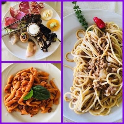 Antipasto Calabrese, Fileja con salsiccia, Spaghetti con ciccioli e peperoncino, al Vecchio Castagno di Serrastretta, tappa del nostro tour enogastronomico in Italia